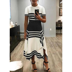 Color Block/Striped Short Sleeves A-line Casual/Elegant Maxi Dresses