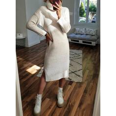 Jednolity Golf Casual Długie Sukienka sweterkowa