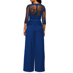 Lace/Solid 3/4 Sleeves Casual/Party Dresses