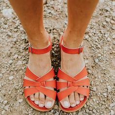 Femmes PU Talon plat Sandales À bout ouvert avec Boucle chaussures