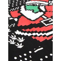 De los hombres poliéster mezcla de algodón Impresión Santa claus Sudadera de navidad