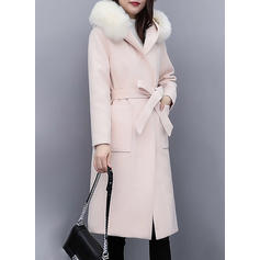 Cotton Long Sleeves Plain Blend Coats