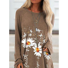 Blomster Dyr rund hals Lange ærmer Sweatshirts
