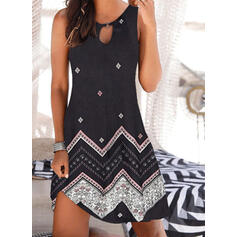 Print Sleeveless Shift Above Knee Casual/Boho/Vacation Tank Dresses