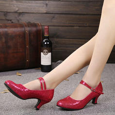Women's Character Shoes Heels Pumps Sparkling Glitter With Ankle Strap Character Shoes