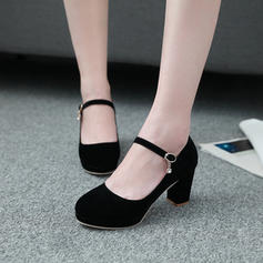 Women's Suede Chunky Heel Pumps Platform Closed Toe With Lace-up shoes