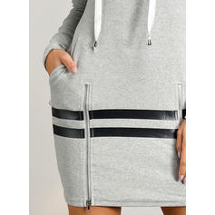 Print Long Sleeves Sheath Above Knee Casual Sweatshirt Dresses