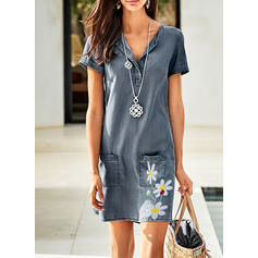 Print/Floral Short Sleeves Shift Above Knee Casual/Denim Dresses