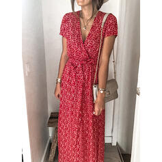 Print Short Sleeves A-line Wrap/Skater Casual Maxi Dresses
