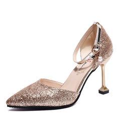 Femmes PU Talon stiletto Escarpins avec Paillette chaussures
