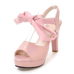Women's Leatherette Chunky Heel Sandals Pumps Platform Peep Toe With Ribbon Tie shoes