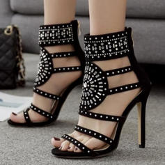 Women's Suede Stiletto Heel Sandals Pumps With Hollow-out shoes