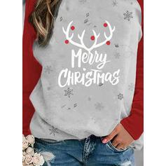 Print Color Block Figur rund hals Lange ærmer Jule sweatshirt