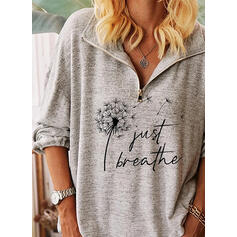 Print Figure Dandelion Lapel Long Sleeves Casual Blouses