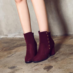 Women's Suede Chunky Heel Pumps Boots With Zipper Others shoes