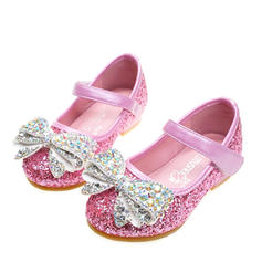 Girl's Sparkling Glitter Flat Heel Round Toe Closed Toe Flats Flower Girl Shoes With Bowknot Velcro Crystal