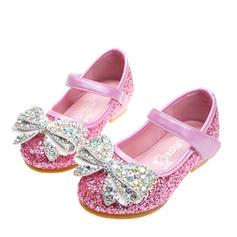 Mädchens funkelnden Glitter Flache Ferse Round Toe Geschlossene Zehe Flache Schuhe Blumenmädchen Schuhe mit Bowknot Klettverschluss Kristall