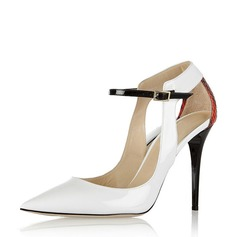 Women's Patent Leather Stiletto Heel Sandals Pumps Closed Toe With Buckle Hollow-out shoes