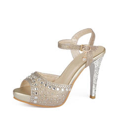 Women's Leatherette Stiletto Heel Sandals With Sparkling Glitter Buckle shoes