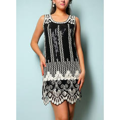Sequins Appliques Round Neck Above Knee Shift Dress