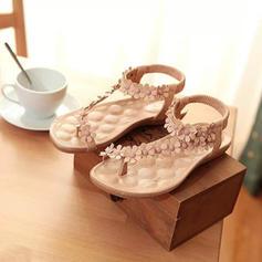 Femmes PU Talon plat Sandales Chaussures plates À bout ouvert avec Une fleur chaussures