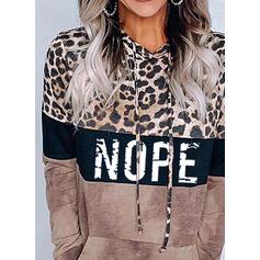Drucken Farbblock Leopard Taschen Lange Ärmel Kapuzen