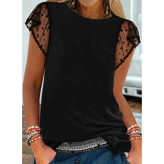 Solid Lace Round Neck Cap Sleeve Casual Blouses