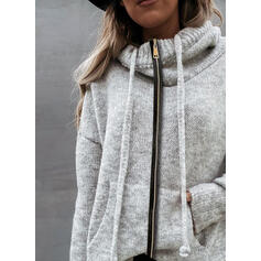 Solid Fickor Hooded Casual Cardigan