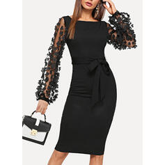 Pevný Dlouhé rukávy Přiléhavé Délka ke kolenům Malé černé/Večírek/Elegantní Šaty