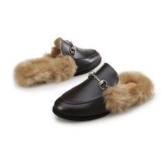 Femmes Similicuir Talon plat Chaussures plates avec Boucle Fausse Fourrure chaussures