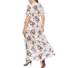 Print/Floral Short Sleeves A-line Asymmetrical Casual/Plus Size Dresses
