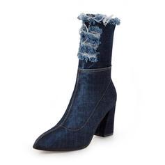 Femmes Treillis Talon bottier Bottes Bottes mi-mollets avec Zip chaussures