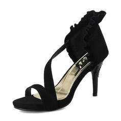 Women's Suede Stiletto Heel Sandals Pumps Peep Toe With Ruffles shoes