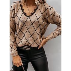 Spitze V-Ausschnitt Freizeit Pullover