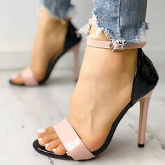Women's PU Stiletto Heel Sandals Peep Toe With Buckle shoes