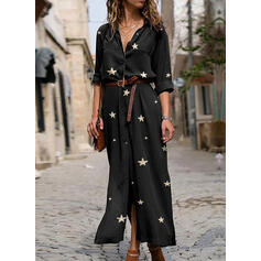 Print 1/2 Sleeves A-line Shirt/Skater Casual Maxi Dresses