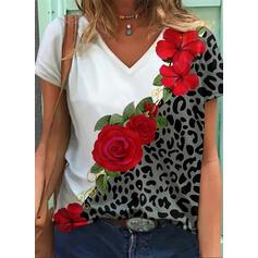 Floral Leopard Print V-Neck Short Sleeves T-shirts