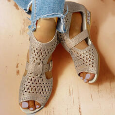 Women's PU Low Heel Sandals Flats Peep Toe With Rhinestone Hollow-out shoes