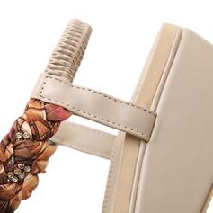 Femmes Similicuir Talon compensé Sandales avec Strass chaussures
