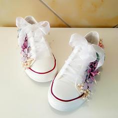 Frauen Samt Flascher Absatz Flache Schuhe Geschlossene Zehe mit Zuschnüren Blume Schuhe