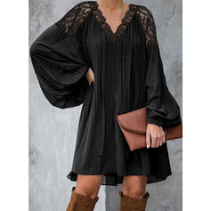 Lace/Solid Long Sleeves Shift Above Knee Little Black/Elegant Tunic Dresses