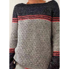 Color Block Striped Round Neck Casual Sweaters
