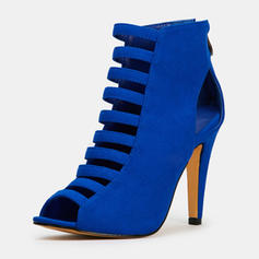 Women's Suede Stiletto Heel Pumps With Zipper Hollow-out shoes