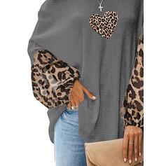 baskı leopárd Szív Tek Omuzlu Uzun kollu Günlük Blúzok