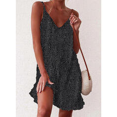 Print/Floral/PolkaDot Sleeveless Shift Above Knee Casual/Vacation Dresses