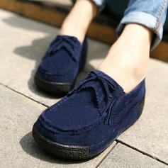Women's Suede Wedge Heel Platform Closed Toe Wedges With Bowknot Tassel shoes