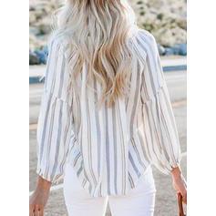 В полоску V шеи Длинные рукова Повседневная Блузы