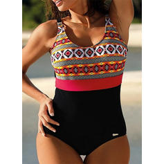Colorful Print Strap Round Neck Boho One-piece Swimsuits