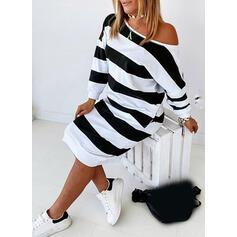 Striped Long Sleeves Sheath Knee Length Casual Sweatshirt Dresses