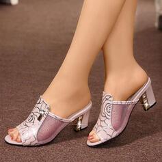 Bayanlar Mikrofiber Deri Düşük Topuk Sandalet Terlik Ile Payet ayakkabı